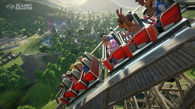 Planet Coaster screenshot showing a giant rollercoaster