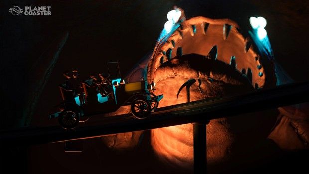 Planet Coaster ride featuring a scary monster in the dark