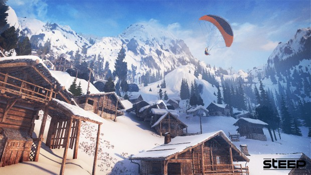 Steep game screenshot showing a parachute and some lovely scenery
