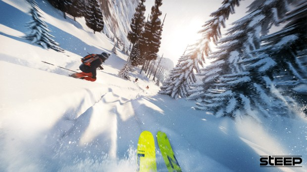 Steep game screenshot of the skiing section