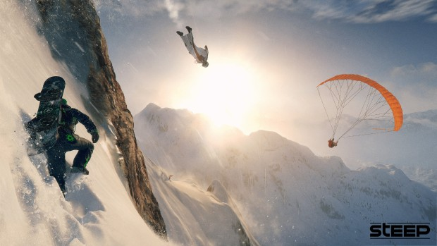 Ubisoft's Steep game screenshot showing the various ways you can go down mountain