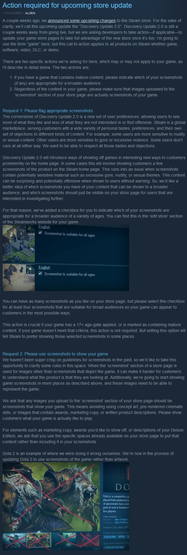 Valve's comments and reasoning behind the upcoming Steam Store screenshots update