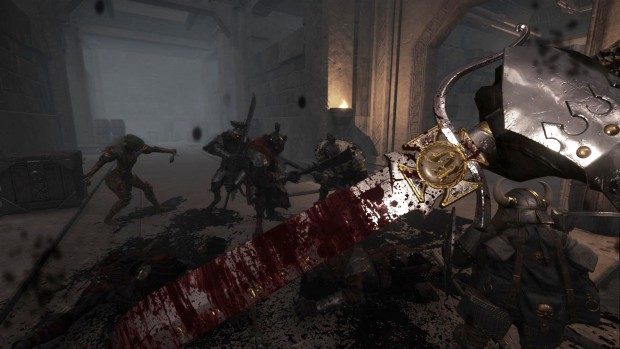 Warhammer End Times Vermintide screenshot showing a battle against Skaven in Karak Azgaraz