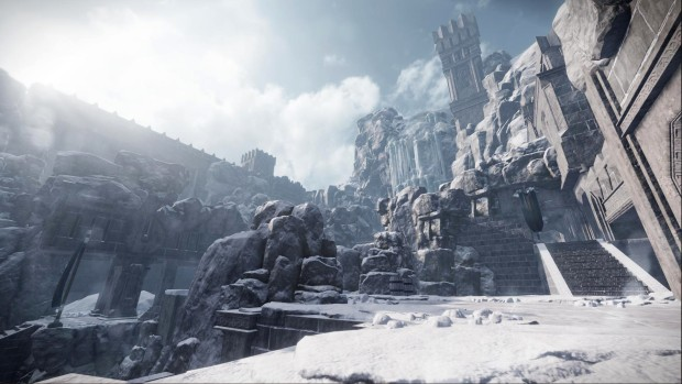 Warhammer: End Times - Vermintide screenshot showing the giant fortress of Karak Azgaraz