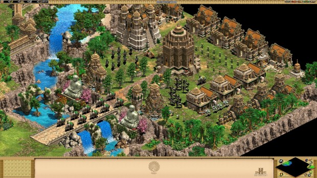 Age of Empires 2 HD: Rise of Rajas expansion screenshot featuring a fortified city