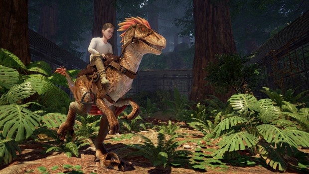 Ark Park screenshot featuring a rideable raptor