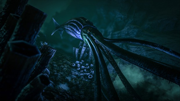 Ark: Survival Evolved's giant squid in the shadows