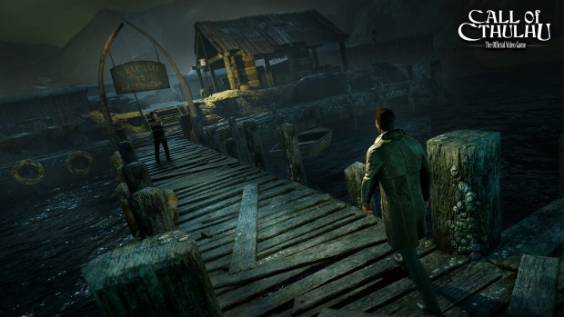 Call of Cthulhu screenshot featuring the city of Darkwater