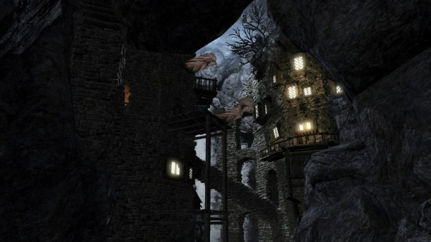 Enderal: Forgotten Stories screenshot featuring a castle built into a cliff
