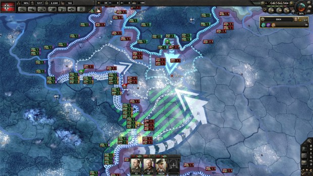 Hearts of Iron 4 expansion Together for Victory screenshot featuring an expansive battlefield