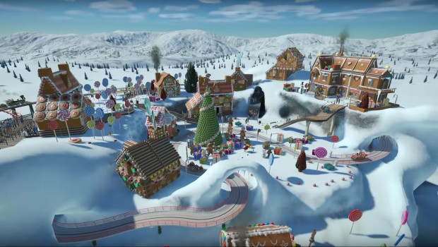 Planet Coaster's Winter Update screenshot showcasing a snow-covered village