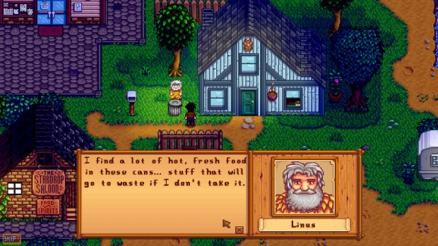 Stardew Valley screenshot showcasing a rather touching moment with Linux