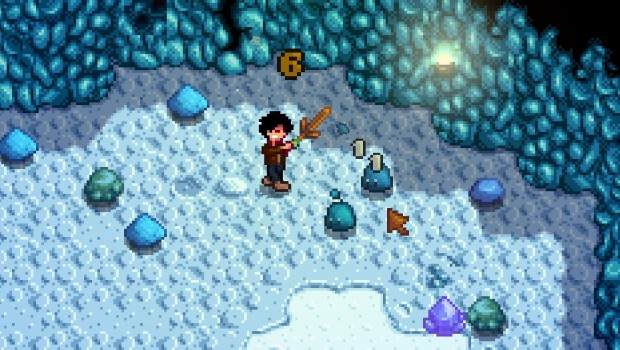 Stardew Valley screenshot showcasing numerous slimes in the mine