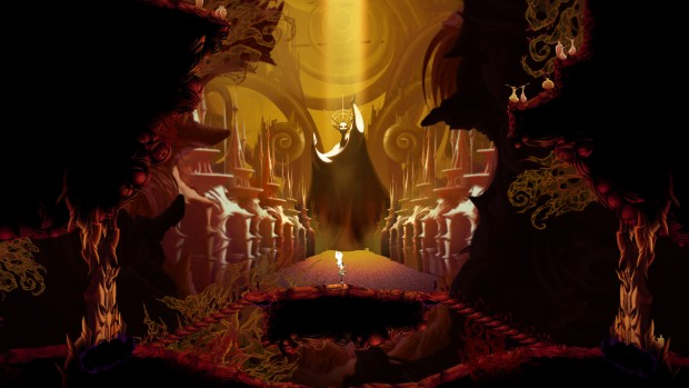 Sundered screenshot of a giant hall with a statue