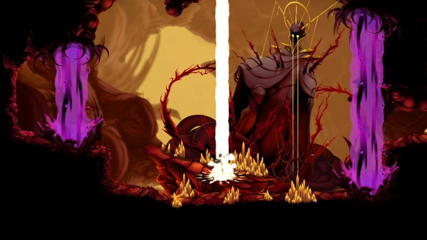 Sundered screenshot featuring a boss fight and lasers