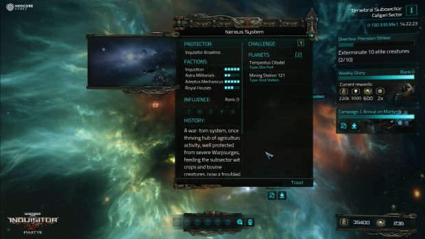 Warhammer 40k: Inquisitor Matyr screenshot showing the mission system