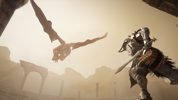 Black Desert Online screenshot of a knight fighting against a dragon