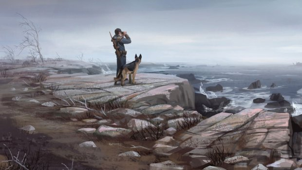 Fallout 4 artwork of the survivor and his dog