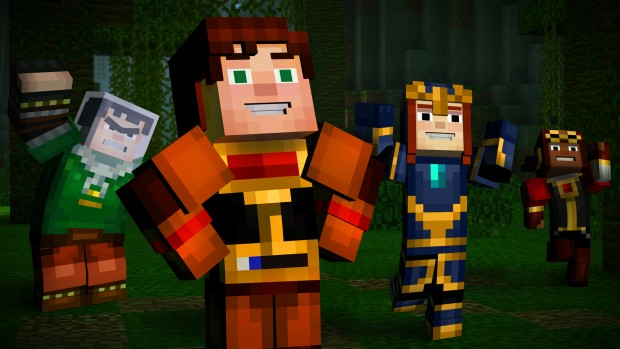 Minecraft: Story Mode official screenshot showing off numerous characters
