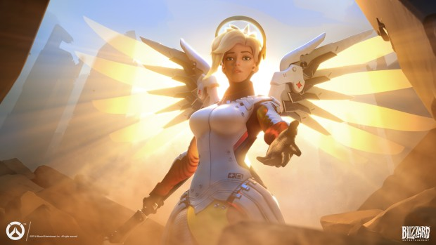 Overwatch artwork of Mercy flying towards the screen