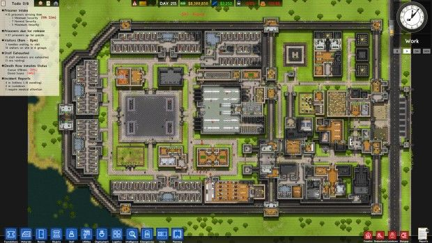 Prison Architect screenshot of a prison complex from above