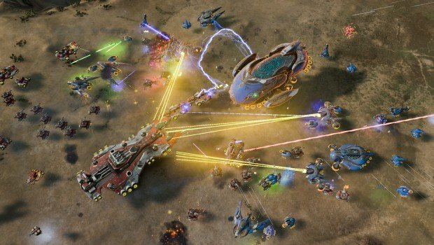Ashes of the Singularity screenshot of a high-pitched battle