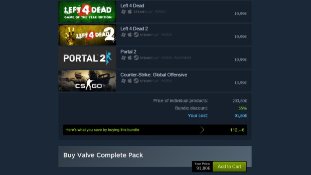 Steam Bundle price without discount