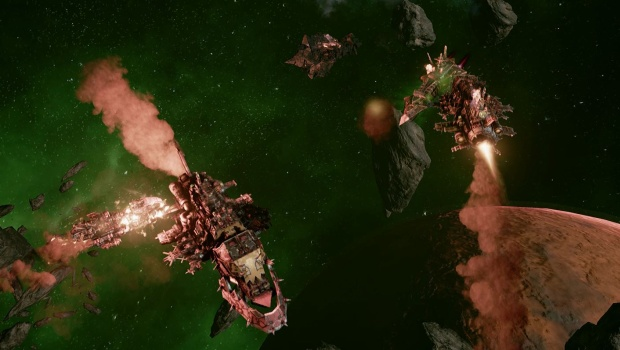Orks in Battlefleet Gothic Armada prefer to be up close and personal