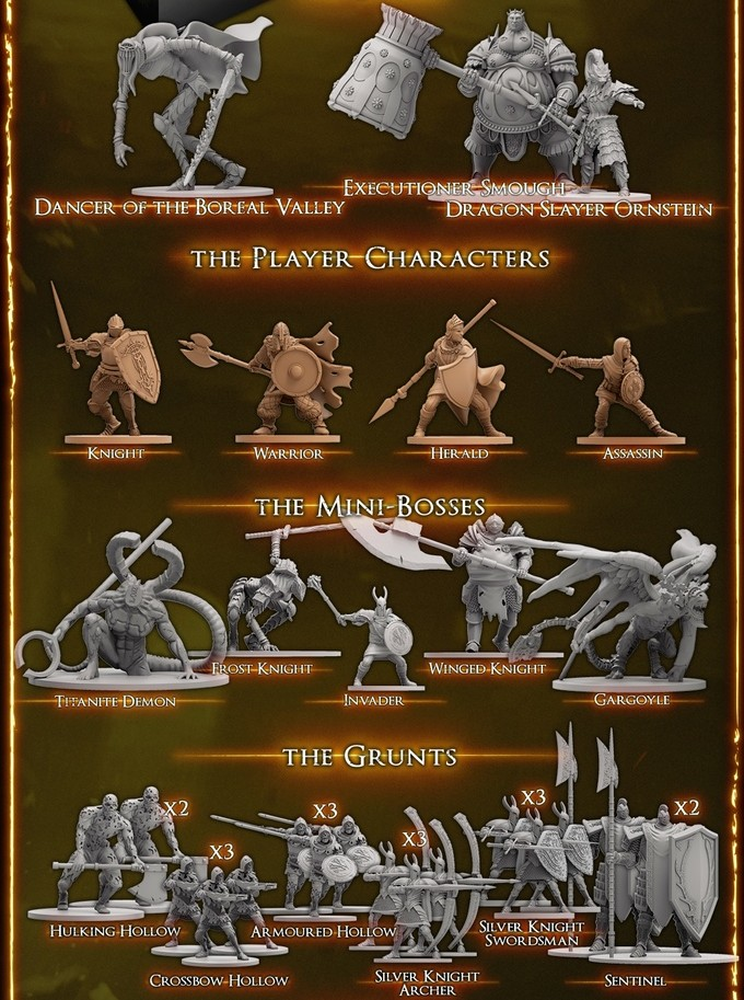 Dark Souls 3 board game miniatures