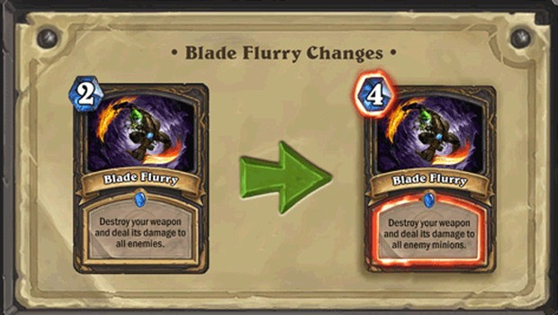 Rogue's bladeflurry has been nerfed in Hearthstone