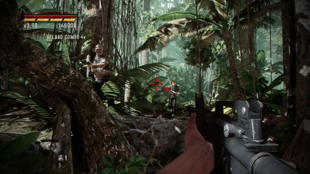 Rambo: The Video Game Baker Team DLC screenshot features a lush jungle and tons of bullets