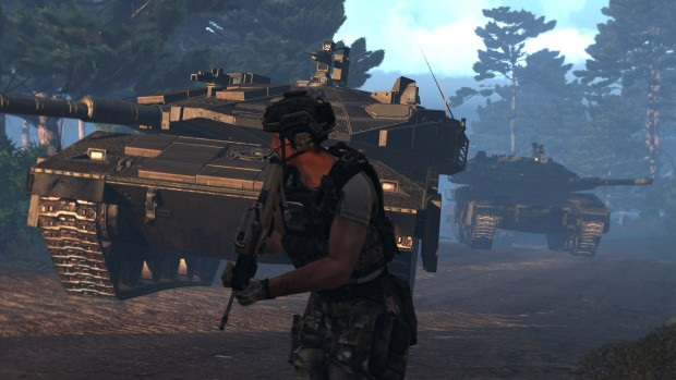 Arma 3 screenshot of infantry and tanks moving together
