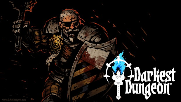 Darkest Dungeon logo with man-at-arms