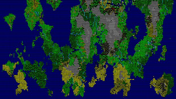 Dwarf Fortress screenshot with the contrast set to high