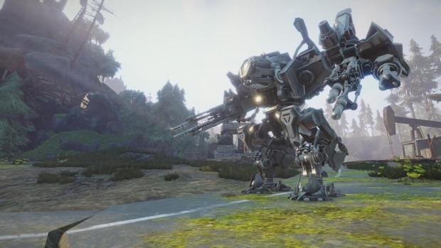 A screenshot from Elex featuring a mech