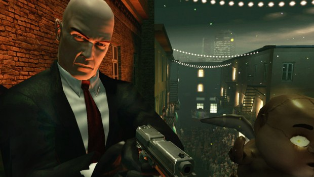 Agent 47 looking rather grim at the carnival