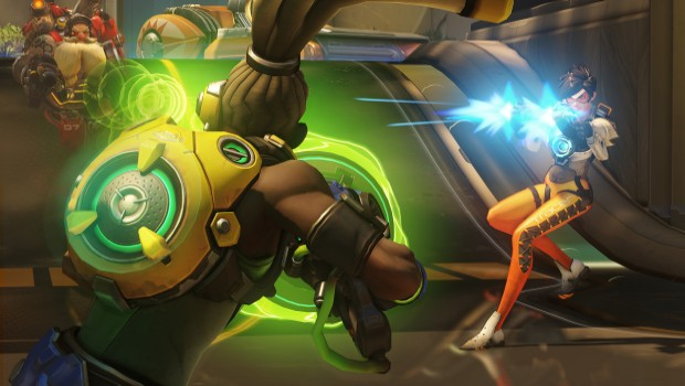 Overwatch screenshot featuring Tracer, Torbjorn and Lucio