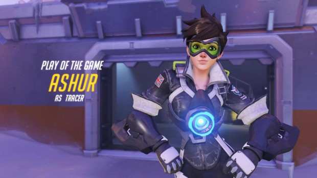 Overwatch's Tracer posing for the play of the game screen