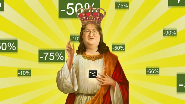 Steam Sale artwork featuring the allmighty Gaben