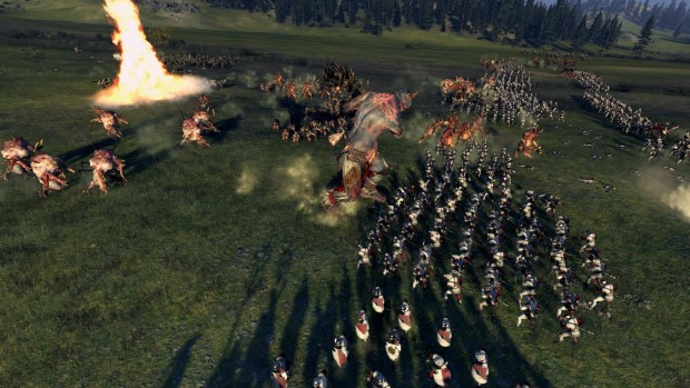 Total War: Warhammer flaming tornado in action