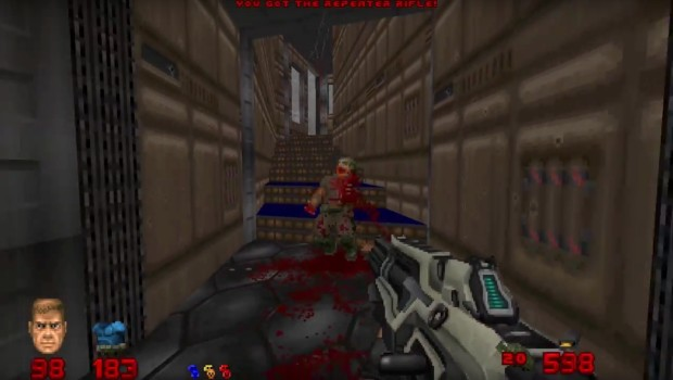 Brutal Doom mod allows you to use the machine gun from Doom 2016