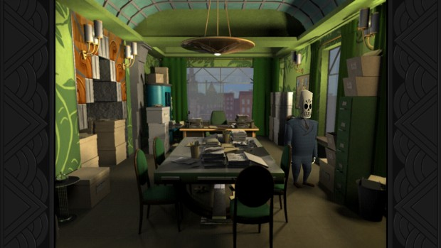 Grim Fandango Remastered screenshot of the office