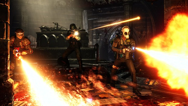 Killing Floor 2's characters burning down ZEDs