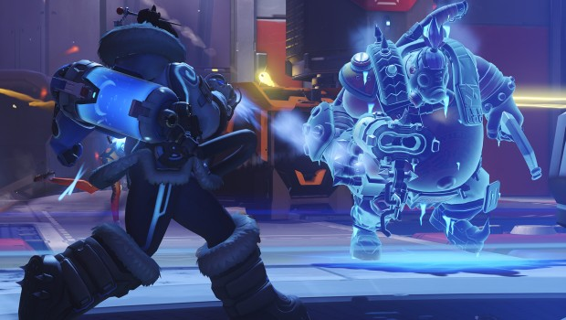 Overwatch Mei fighting against Roadhog