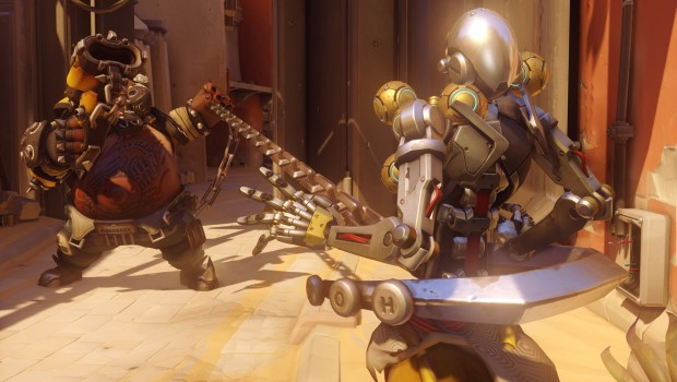 Overwatch screenshot of Roadhog hooking Zenatta