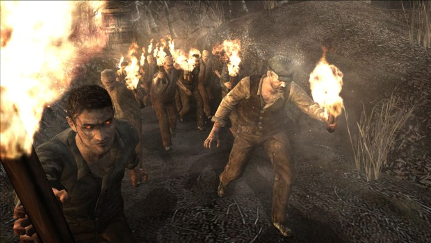 Resident Evil 4 screenshot of the crazed villagers