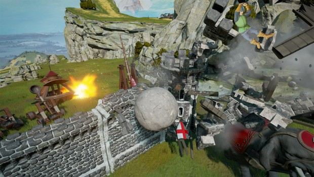 Rock of Ages 2 screenshot showcasing a castle being destroyed