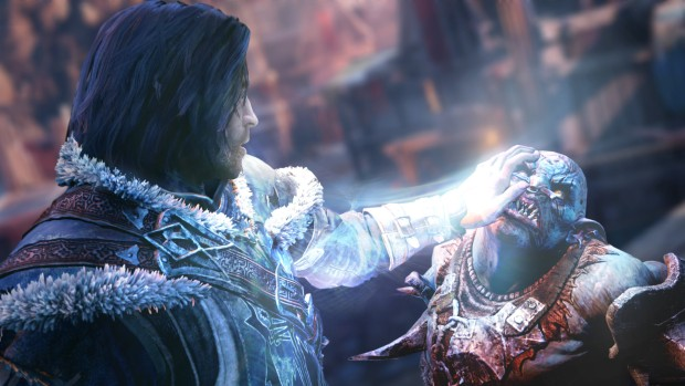 Shadow of Mordor screenshot of our hero touching an Orc