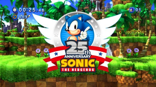 Sonic the Hedgehod's 25th anniversary artwork and logo