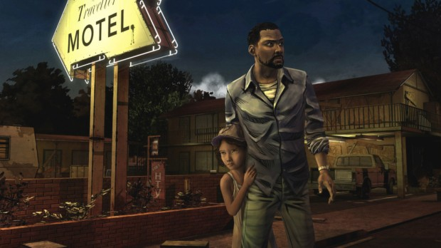 Telltale's The Walking Dead screenshot of Lee and Clementine